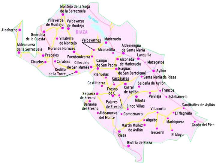 Pueblos De Segovia Mapa.Tierras De Riaza Pueblos De Segovia El Norte De Castilla