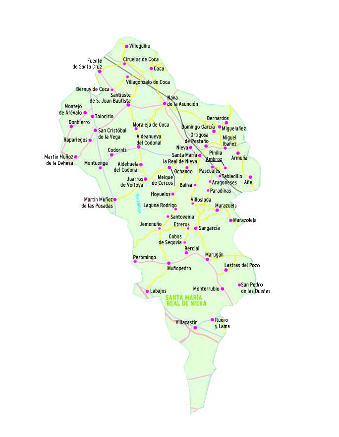 Pueblos De Segovia Mapa.Tierras De Santa Maria La Real De Nieva Pueblos De Segovia