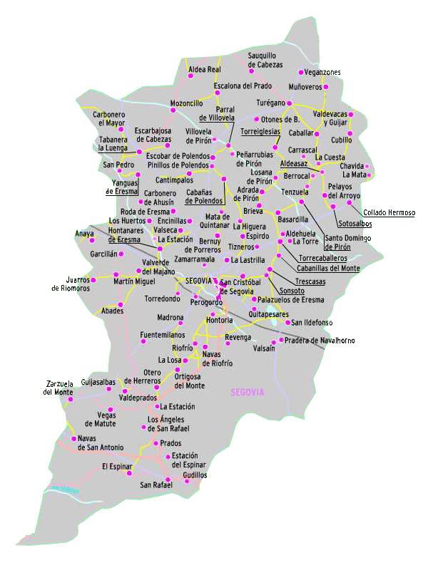 Pueblos De Segovia Mapa.Tierras De Segovia Pueblos De Segovia El Norte De Castilla